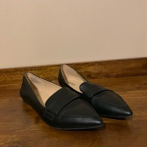 ANA Black Faux Leather Pointed Toe Flats
